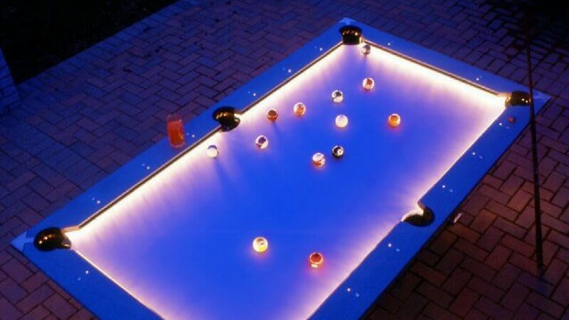 Awesome Outdoor Pool Table With Built In LED Lights - Mizerak outdoor pool table